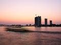 Sunset at chao phraya river bangkok thailand Stock Image