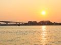Sunset at chao phraya river bangkok thailand Royalty Free Stock Photo