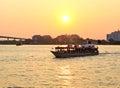 Sunset chao phraya river boat Stock Photo