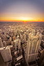 Sunset in chicago illinois sun sets city Royalty Free Stock Image