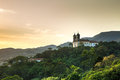 Sunset at Church San Francisco de Paula in Ouro Preto, Minas Gerais, Brazil Royalty Free Stock Photo
