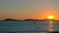 Sunset on Cies islands Royalty Free Stock Photo