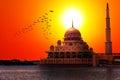 Západ slnka na klasický mešita