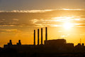 Sunset and cloud over electrical power plant orange gas turbine Royalty Free Stock Photography