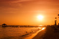 Sunset on the coast of the Caribbean Sea. Dominican sunset. Royalty Free Stock Photo