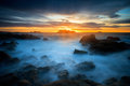 Sunset at Cobo bay, in Guernsey Royalty Free Stock Photo