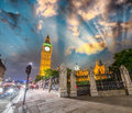 Sunset colors over westminster palace and big ben view from bri bridge street london uk Stock Photography