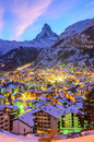 Sunset colors in Zermatt Royalty Free Stock Photo