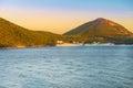 Sunset at the  crystalline beaches of Pontal do Atalaia Royalty Free Stock Photo