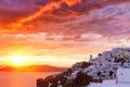 Sunset at cycladic village Imerovigli Royalty Free Stock Photo