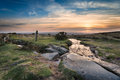 Sunset on dartmoor at windy post an ancient granite cross standing alongside the beckamoor brook as it crosses the grimstone and Royalty Free Stock Image