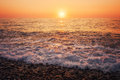 Sunset dawn in the sea and wawes Royalty Free Stock Photography