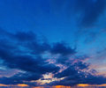 Sunset on deep blue sky. Panorama from several photos. Stock Photography