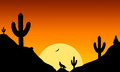 View on a howling wolf in front of a Sunset as an illustration Royalty Free Stock Photo