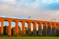 Sunset at digswell viaduct in the uk orange welwyn located between welwyn garden city and Royalty Free Stock Photos