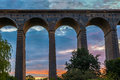 Sunset at digswell viaduct in the uk welwyn located between welwyn garden city and Royalty Free Stock Photos