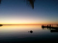 Sunset with Dock in the Florida Keys Royalty Free Stock Photo