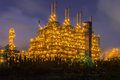 After sunset and duration twilight of the chemical plant Royalty Free Stock Image
