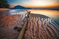 Sunset ebb tropical beach in time on background Royalty Free Stock Photo