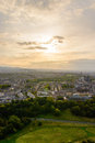 Sunset in Edinburgh from Arthur's seat Royalty Free Stock Photo
