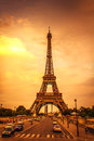 Sunset in the eiffel tower paris france Royalty Free Stock Photography