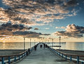Sunset at the famous marine pier in resort city of palanga lithuania europe Stock Photography