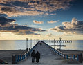 Sunset at famous pier in palanga the marine resort city of lithuania europe Royalty Free Stock Image