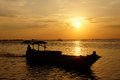 Sunset the fisherman went home at on the island of karimun central java indonesia Royalty Free Stock Image