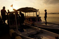 Sunset the fisherman went home at on the island of karimun central java indonesia Royalty Free Stock Photography