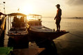 Sunset the fisherman went home at on the island of karimun central java indonesia Stock Images