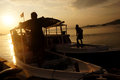 Sunset the fisherman went home at on the island of karimun central java indonesia Stock Photos