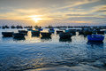 Sunset at fishing village Royalty Free Stock Photo