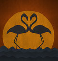 Sunset with flamingo make heart sigh from recycled paper illustration of Royalty Free Stock Image