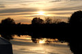 Sunset at Fleet Dyke Norfolk Broads Royalty Free Stock Photo