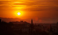 Sunset in florence summer the town Royalty Free Stock Photo