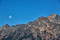 Mountain peak,Sunset Full Moon Royalty Free Stock Photo