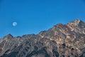 Mountain peak,Sunset Full Moon Royalty Free Stock Photo