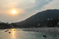 Sunset on Ganga river in Rishikesh, Uttarkhand, India Royalty Free Stock Photo