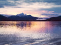 Sunset at Glacier Bay, Alaska. Sunset reflection in the calm waters of Glacier Bay. Royalty Free Stock Photo