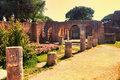 Sunset glimpse of the courtyard ruins of Domus della Fortuna Annonaria Royalty Free Stock Photo