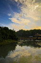 Sunset glow and and its reflection which in the bamboo forest of south sichuan china Royalty Free Stock Images