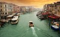 Sunset and the grand canal of viewed from rialto bridge in venice Royalty Free Stock Photos