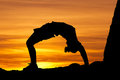 Sunset gymnast Stock Photography