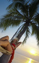 Sunset and hammock Stock Image