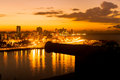 Sunset in Havana with a view of  the city skyline and an old spa Royalty Free Stock Photo