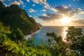 Sunset at Hawaii Kauai Napali coast Kalalau trail Royalty Free Stock Photo
