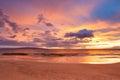 Sunset on Hawaiian Beach Royalty Free Stock Photo