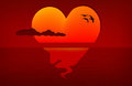 Sunset heart with birds