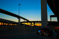 Sunset in Highway with bridges in Houston Royalty Free Stock Photo