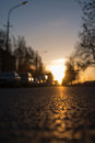 Sunset highway view from road level close up Royalty Free Stock Photography